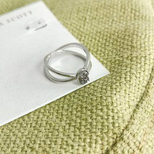 Emilie Platinum Drusy Silver Double Band Ring # 7